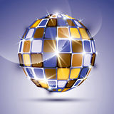 3D glossy violet fractal mirror ball Stock Photos