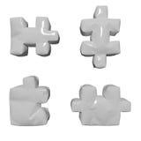 3D glossy white puzzles. 3 D glossy white puzzles on isolated background Stock Photos