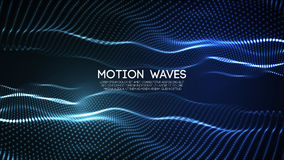 3D glowing abstract digital wave particles. Futuristic vector illustration. HUD element. Technology concept. Abstract. 3D glowing abstract digital wave particles Royalty Free Stock Photos