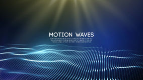 3D glowing abstract digital wave particles. Futuristic vector illustration. HUD element. Technology concept. Abstract. 3D glowing abstract digital wave particles Stock Image