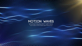 3D glowing abstract digital wave particles. Futuristic vector illustration. HUD element. Technology concept. Abstract. 3D glowing abstract digital wave particles Royalty Free Stock Image