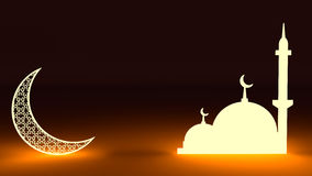 3d glowing crescent and mosque Stock Photo