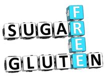3D Gluten Sugar Free Crossword cube words. On white background Royalty Free Stock Image