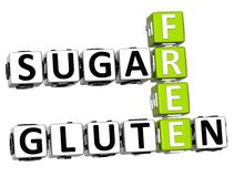 3D Gluten Sugar Free Crossword cube words. On white background Stock Photography