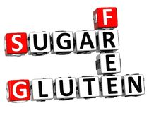 3D Gluten Sugar Free Crossword cube words. On white background Royalty Free Stock Images