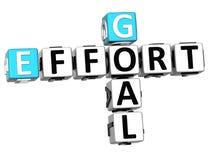 3D Goal Effort Crossword. On white background Stock Photography