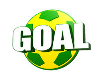 3d goal over soccer ball in Brazilian colors Stock Image