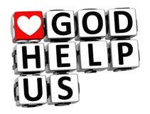 3D God Help Us Button Click Here Block Text Stock Photos