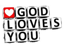 3D God Loves You Button Click Here Block Text. Over white background Stock Images