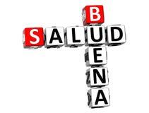 3D Goede Kruiswoordraadsel van Gezondheidsbuena Salud op witte achtergrond Royalty-vrije Stock Fotografie
