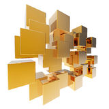 3d Gold abstract cube array Royalty Free Stock Photos