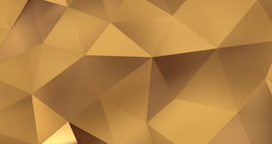 3d gold abstract geometric polygon surface motion background loop 4k stock video