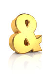 3D Gold Ampersand Sign Stock Photos