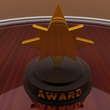 3d gold award medal and AWARD written on it in golden words conc Royalty Free Stock Photography