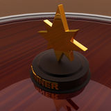 3d gold award medal and WINNER written on it in golden words con Royalty Free Stock Image
