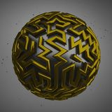 3D gold balls abstract background. 3D gold balls abstract on grey background Royalty Free Stock Images