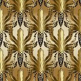 3d gold Baroque oak leaves and acorns seamless pattern. Vector m. Odern interesting background. Wallpaper. Abstract oak leaves, lattice acorns, vintage ornament Royalty Free Stock Image