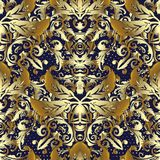 3d gold Baroque vector seamless pattern. Ornamental patterned te. Xtured background. Vintage flowers, leaves, branches, scrolls, halftone. Antique ornaments in Royalty Free Stock Photos