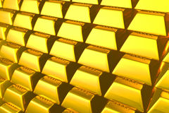 3d gold bars. 3d gold bars isolated on white with clipping path Stock Photos
