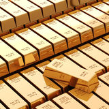 3d gold bars. On white background Royalty Free Stock Photo