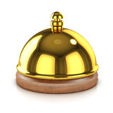 3d Gold bell. 3d render of a hotel reception bell in gold Royalty Free Stock Photography