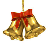 3d Gold bells with red ribbon and bow Royalty Free Stock Images