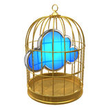 3d Gold bird cage with cloud inside Royalty Free Stock Photography