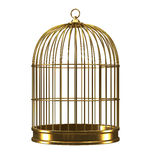 3d Gold birdcage Royalty Free Stock Image