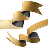 3d gold black ribbon ends isolated on white background Royalty Free Stock Photos