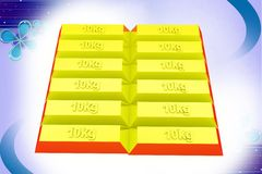 3d gold bricks  illustration Stock Photo