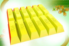 3d gold bricks  illustration Royalty Free Stock Photography