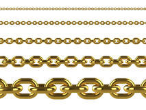 3d Gold chains of various sizes Royalty Free Stock Image