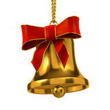 3d Gold Christmas bell with red ribbon Stock Photos