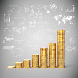 3d gold coins and business plan. Background Stock Photo