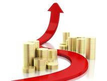 3d gold coins and graph arrow. Success concept Royalty Free Stock Photos