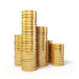 3d gold coins. On white background Stock Images