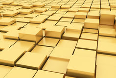 3d  Gold cubes Royalty Free Stock Photos