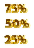 3d gold discount collection on a white background. Usefull as 10% off discount illustration etc Royalty Free Stock Images