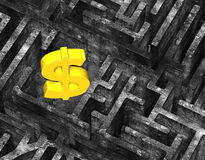 3D gold dollar sign in maze old mottled concrete texture. 3D gold dollar sign in center of maze with old mottled concrete textured Royalty Free Stock Photography
