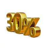 3d Gold 30 dreißig Prozent-Rabatt-Zeichen Lizenzfreie Stockfotografie