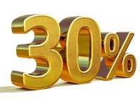 3d Gold 30 dreißig Prozent-Rabatt-Zeichen Stockfoto