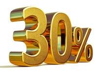 3d Gold 30 dreißig Prozent-Rabatt-Zeichen Lizenzfreie Stockfotos