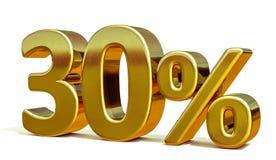 3d Gold 30 dreißig Prozent-Rabatt-Zeichen Stockbilder