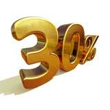 3d Gold 30 dreißig Prozent-Rabatt-Zeichen Lizenzfreie Stockbilder