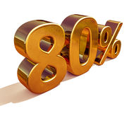 3d Gold 80 Eighty Percent Discount Sign Stock Photography