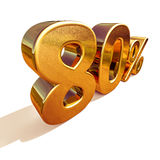 3d Gold 80 Eighty Percent Discount Sign Stock Images