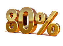 3d Gold 80 Eighty Percent Discount Sign Royalty Free Stock Images