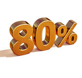 3d Gold 80 Eighty Percent Discount Sign Stock Image