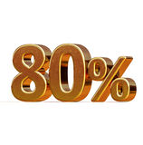 3d Gold 80 Eighty Percent Discount Sign Royalty Free Stock Photos