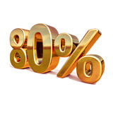 3d Gold 80 Eighty Percent Discount Sign Stock Photo